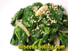 sauteed spinach toasted sesame seeds
